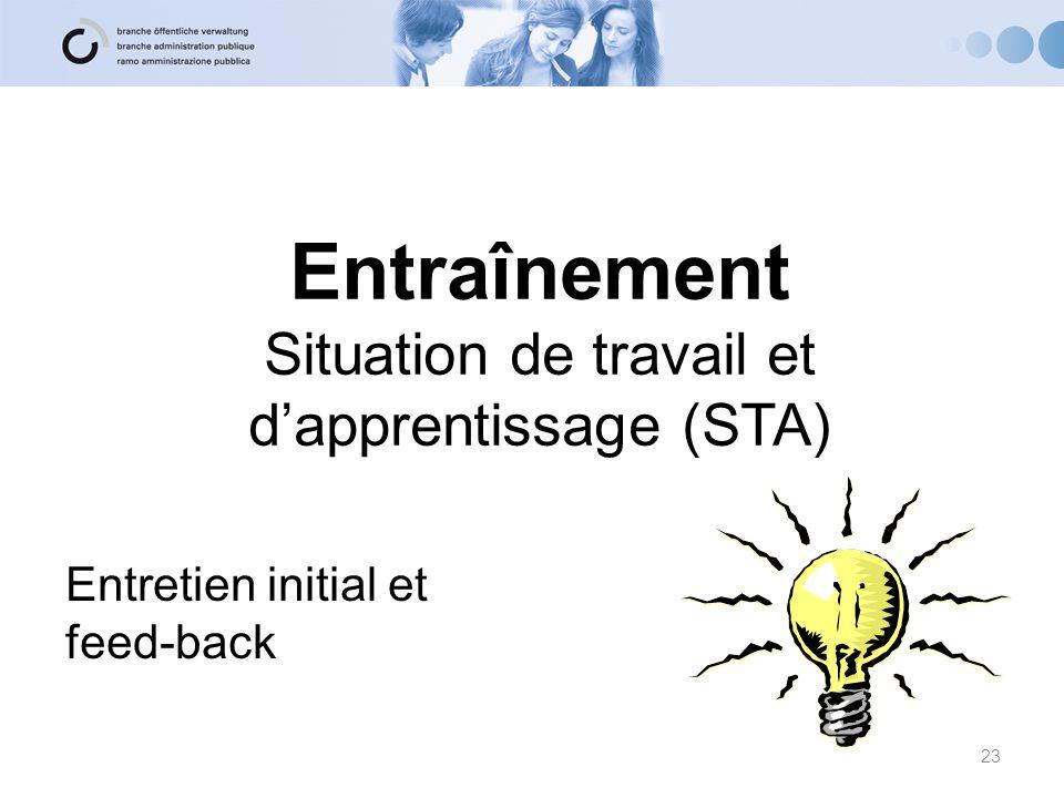 Entraînement Situation de travail et d'apprentissage (STA) Entretien initial et feed-back 23