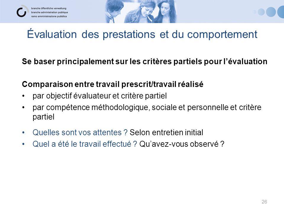 Évaluation des prestations et du comportement Se baser principalement sur les critères partiels pour l'évaluation Comparaison entre travail prescrit/t