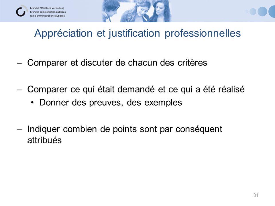 Appréciation et justification professionnelles  Comparer et discuter de chacun des critères  Comparer ce qui était demandé et ce qui a été réalisé D