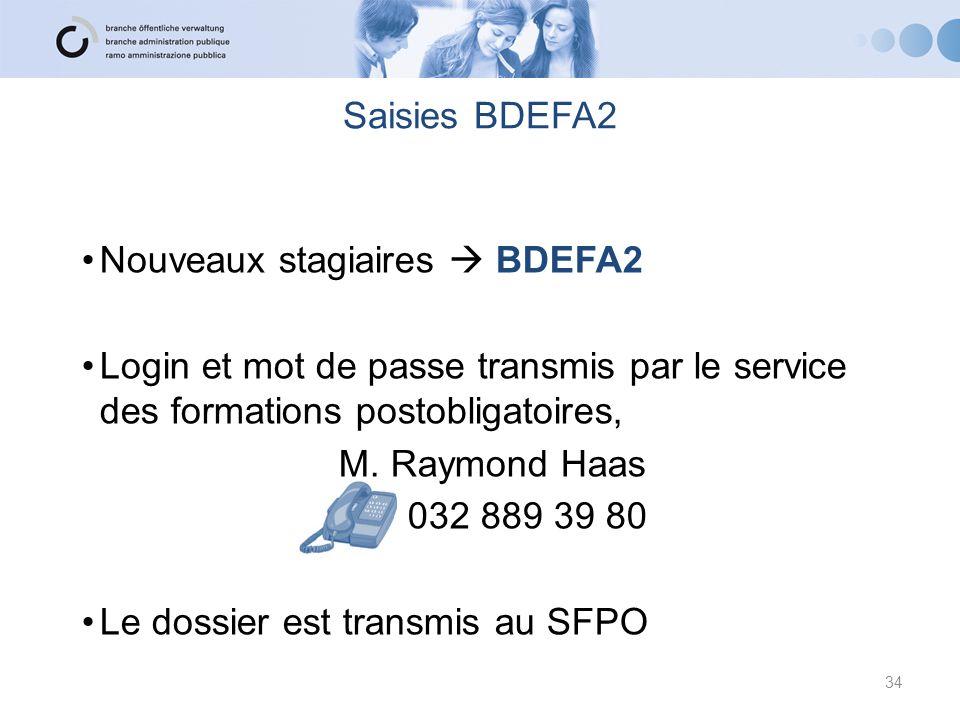 Saisies BDEFA2 Nouveaux stagiaires  BDEFA2 Login et mot de passe transmis par le service des formations postobligatoires, M. Raymond Haas 032 889 39