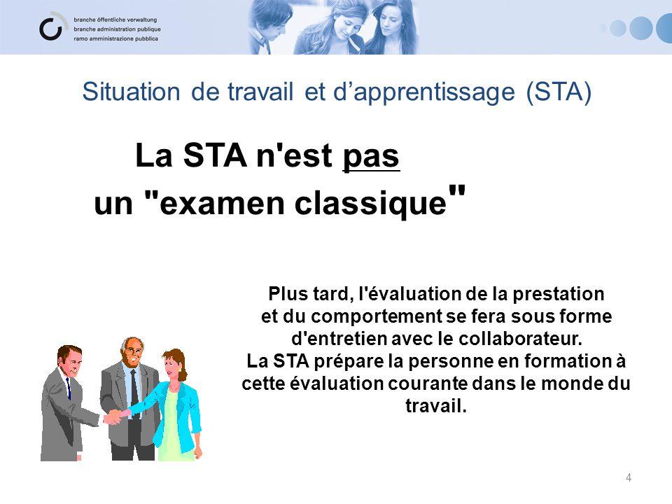 Situation de travail et d'apprentissage (STA) La STA n'est pas un