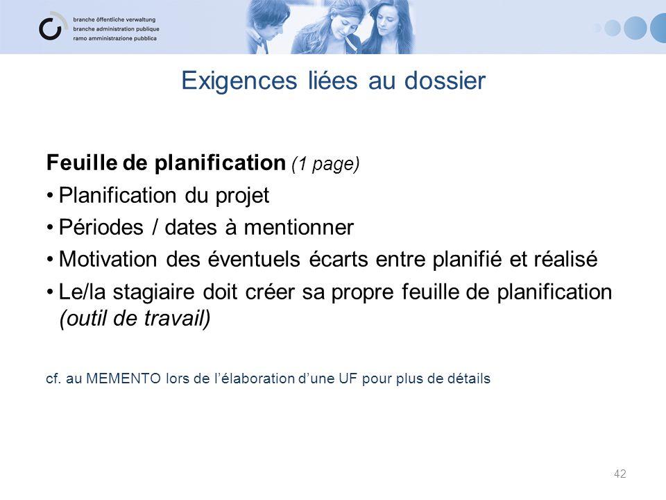 Exigences liées au dossier Feuille de planification (1 page) Planification du projet Périodes / dates à mentionner Motivation des éventuels écarts ent