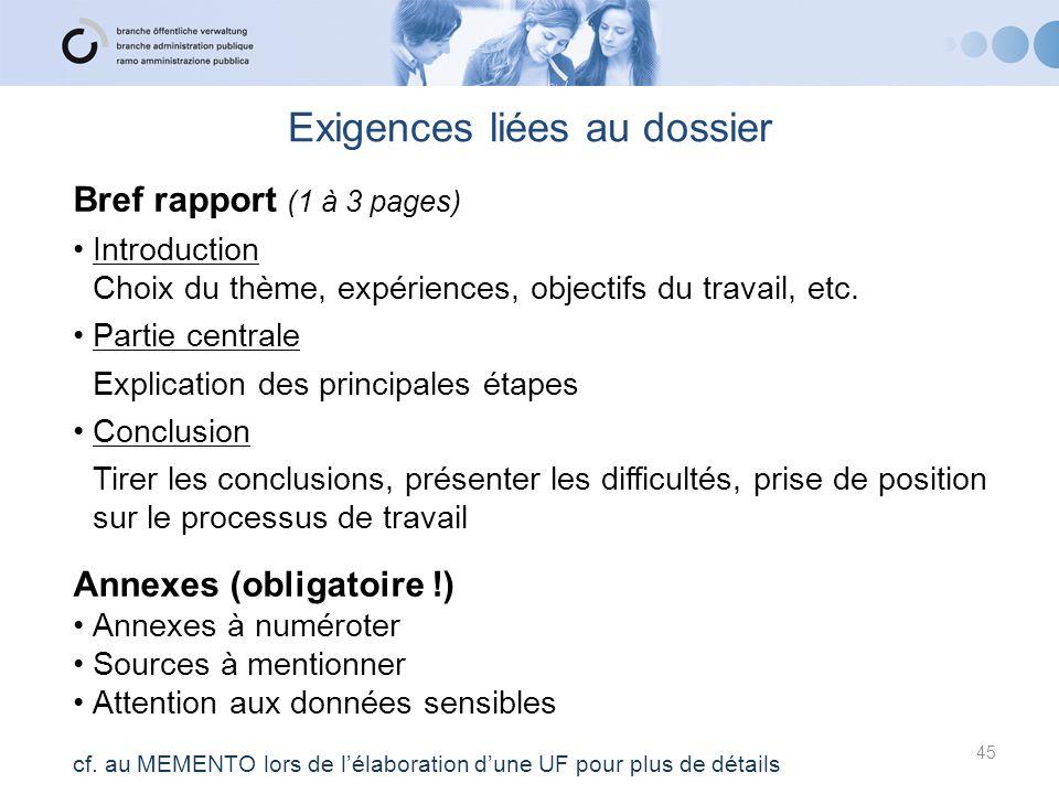 Bref rapport (1 à 3 pages) Introduction Choix du thème, expériences, objectifs du travail, etc. Partie centrale Explication des principales étapes Con