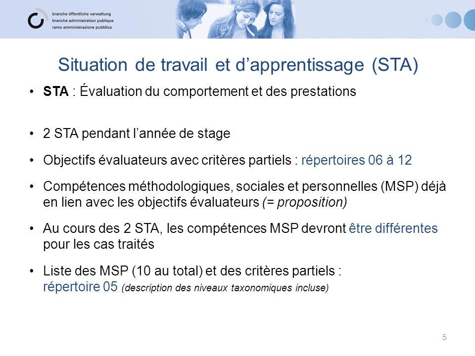 STA Évaluation des compétences professionnelles : 2 objectifs évaluateurs contenant chacun 2 critères partiels Évaluation des compétences méthodologiques, sociales et personnelles : - 1 compétence méthodologique - 1 compétence sociale/personnelle contenant chacune 2 critères partiels Prestation : 50%Comportement : 50% 6