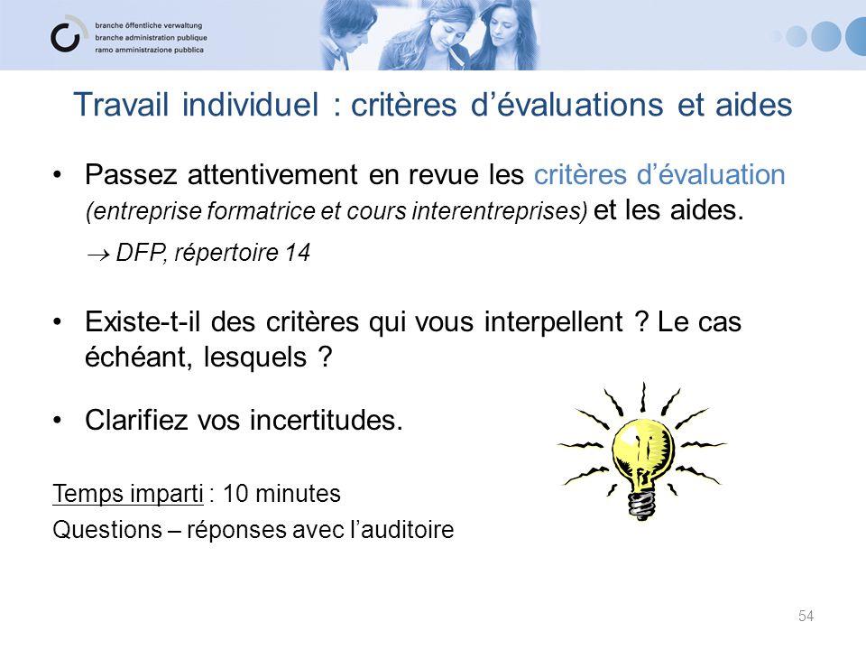 Travail individuel : critères d'évaluations et aides Passez attentivement en revue les critères d'évaluation (entreprise formatrice et cours interentr