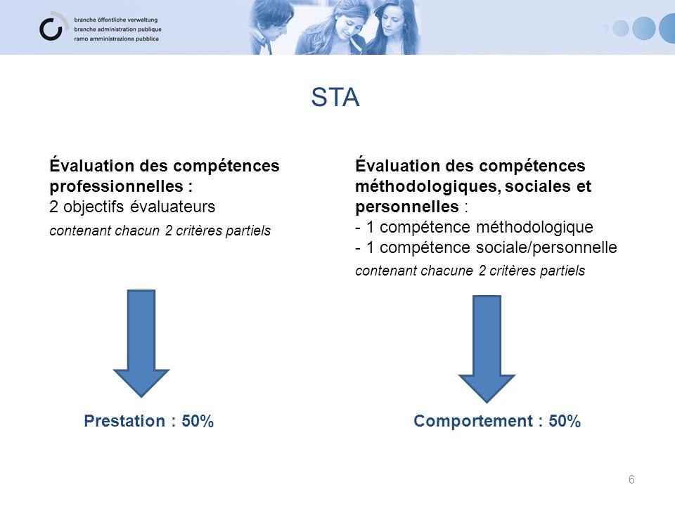 STA Évaluation des compétences professionnelles : 2 objectifs évaluateurs contenant chacun 2 critères partiels Évaluation des compétences méthodologiq