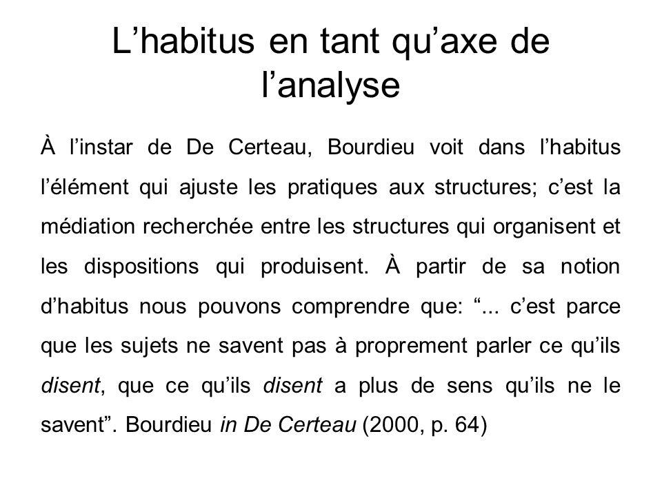 L'habitus en tant qu'axe de l'analyse À l'instar de De Certeau, Bourdieu voit dans l'habitus l'élément qui ajuste les pratiques aux structures; c'est la médiation recherchée entre les structures qui organisent et les dispositions qui produisent.