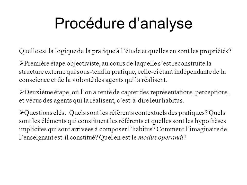 Procédure d'analyse Quelle est la logique de la pratique à l'étude et quelles en sont les propriétés.