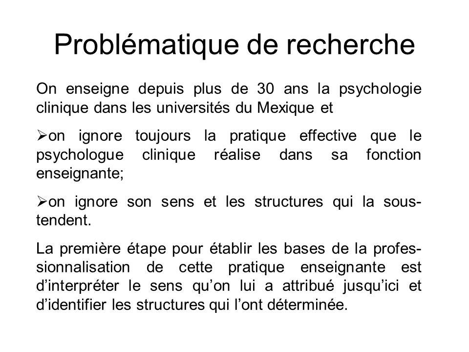 On enseigne depuis plus de 30 ans la psychologie clinique dans les universités du Mexique et  on ignore toujours la pratique effective que le psychologue clinique réalise dans sa fonction enseignante;  on ignore son sens et les structures qui la sous- tendent.