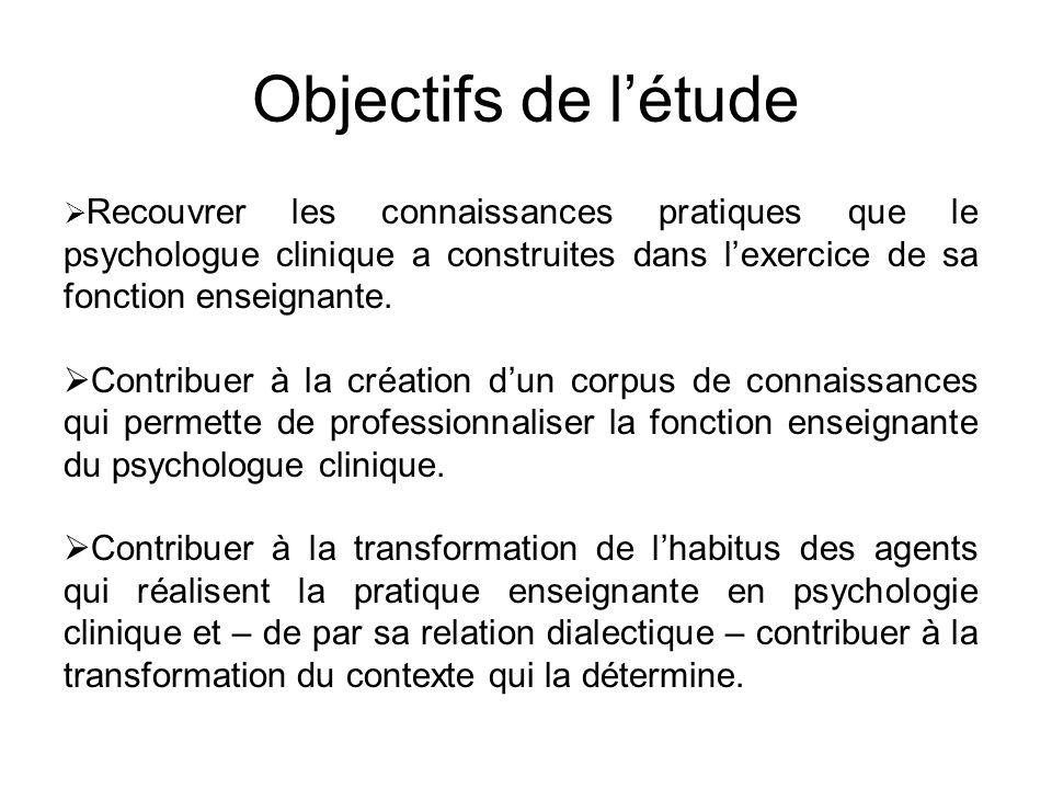 Objectifs de l'étude  Recouvrer les connaissances pratiques que le psychologue clinique a construites dans l'exercice de sa fonction enseignante.