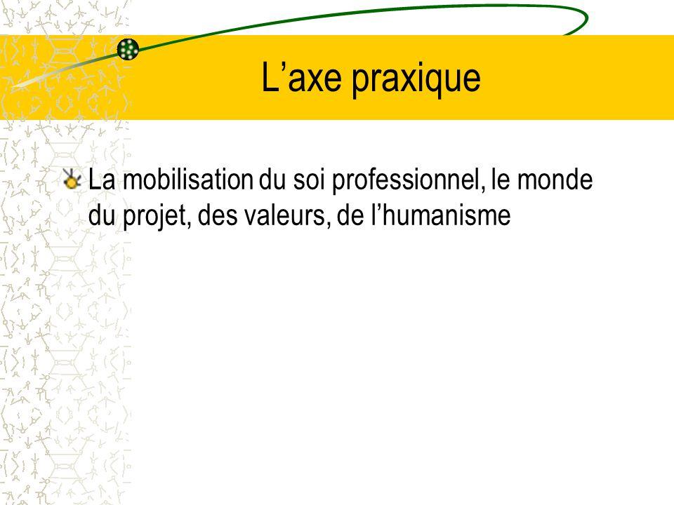 L'axe praxique La mobilisation du soi professionnel, le monde du projet, des valeurs, de l'humanisme