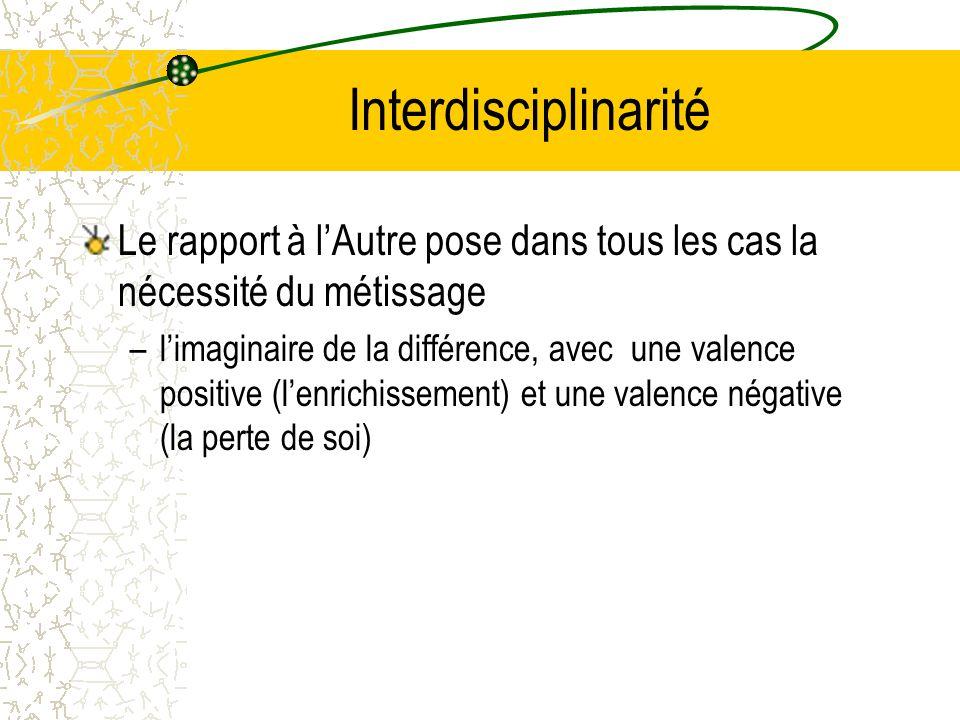 Interdisciplinarité Le rapport à l'Autre pose dans tous les cas la nécessité du métissage –l'imaginaire de la différence, avec une valence positive (l'enrichissement) et une valence négative (la perte de soi)