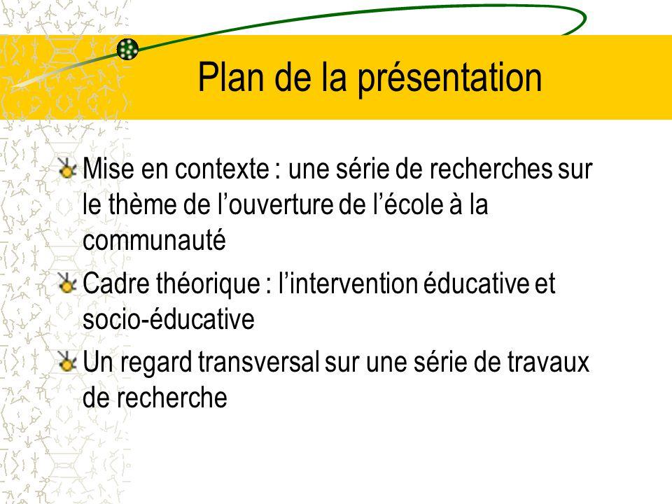 Plan de la présentation Mise en contexte : une série de recherches sur le thème de l'ouverture de l'école à la communauté Cadre théorique : l'intervention éducative et socio-éducative Un regard transversal sur une série de travaux de recherche