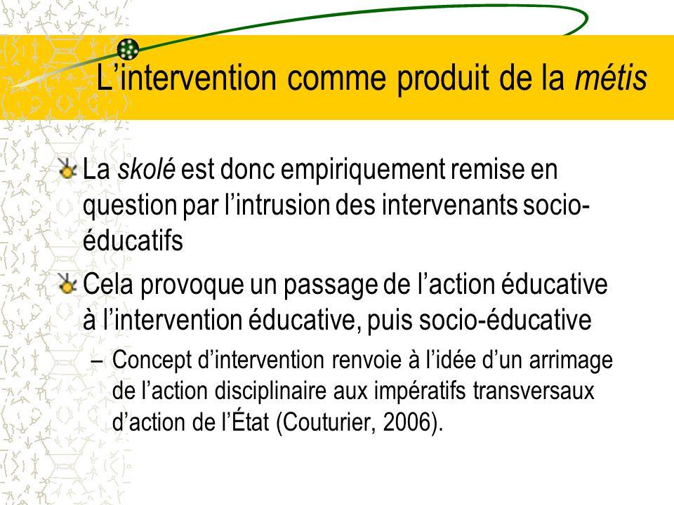 L'intervention comme produit de la métis La skolé est donc empiriquement remise en question par l'intrusion des intervenants socio- éducatifs Cela provoque un passage de l'action éducative à l'intervention éducative, puis socio-éducative –Concept d'intervention renvoie à l'idée d'un arrimage de l'action disciplinaire aux impératifs transversaux d'action de l'État (Couturier, 2006).