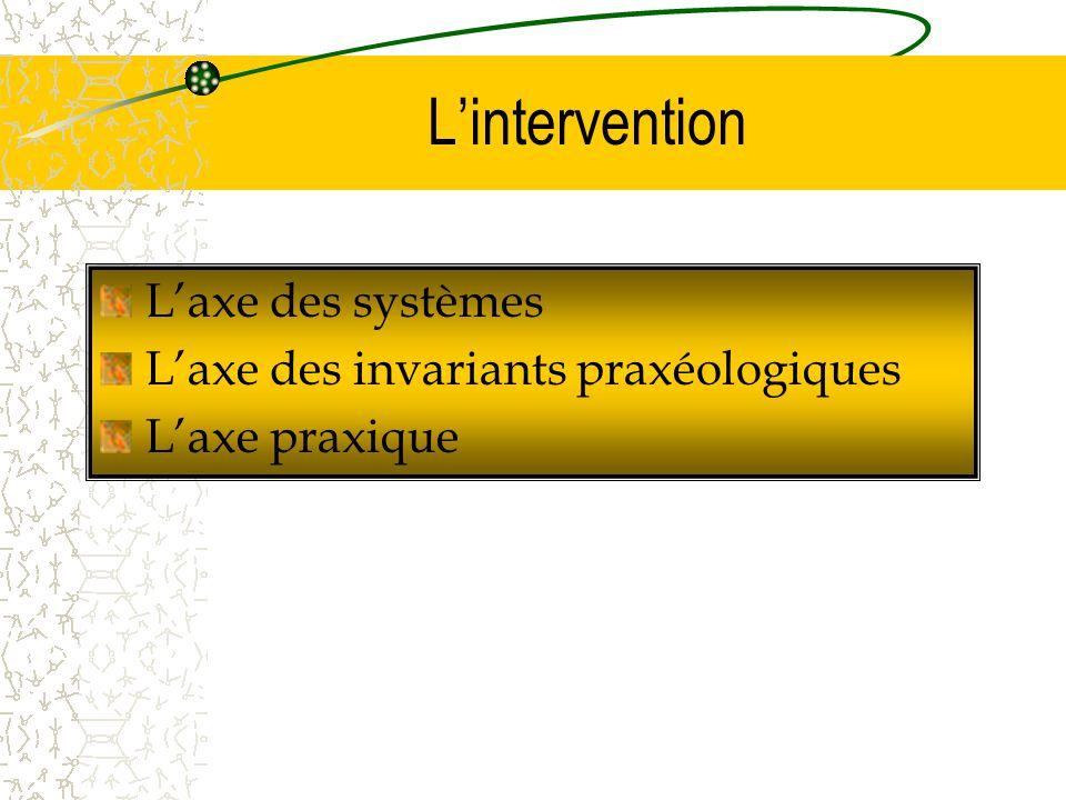 L'axe des systèmes L'axe des invariants praxéologiques L'axe praxique L'intervention