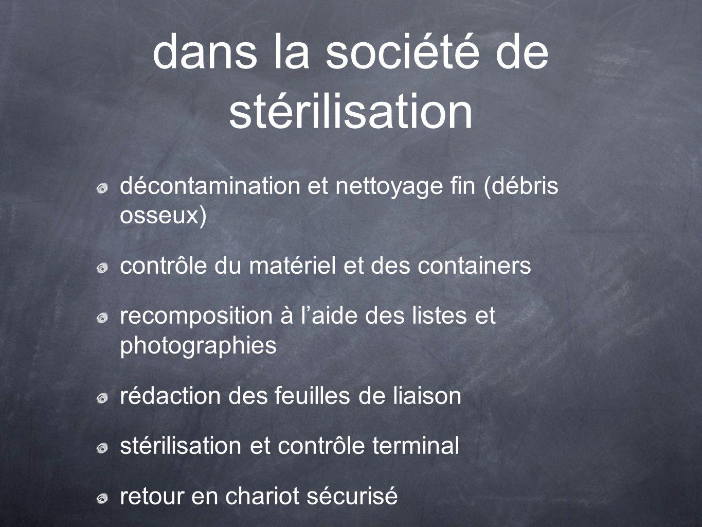 dans la société de stérilisation décontamination et nettoyage fin (débris osseux) contrôle du matériel et des containers recomposition à l'aide des li