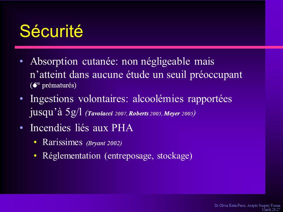 Dr Olivia Keita-Perse, Aseptic Surgery Forum March 26-27 Sécurité Absorption cutanée: non négligeable mais n'atteint dans aucune étude un seuil préocc