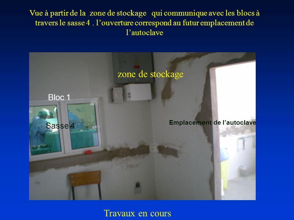Bloc 1 Emplacement de l'autoclave Sasse 4 zone de stockage Vue à partir de la zone de stockage qui communique avec les blocs à travers le sasse 4.