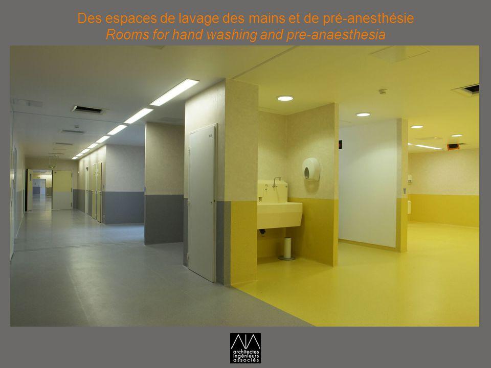 Des espaces de lavage des mains et de pré-anesthésie Rooms for hand washing and pre-anaesthesia