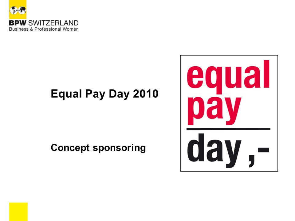 Equal Pay Day 2010 Concept sponsoring