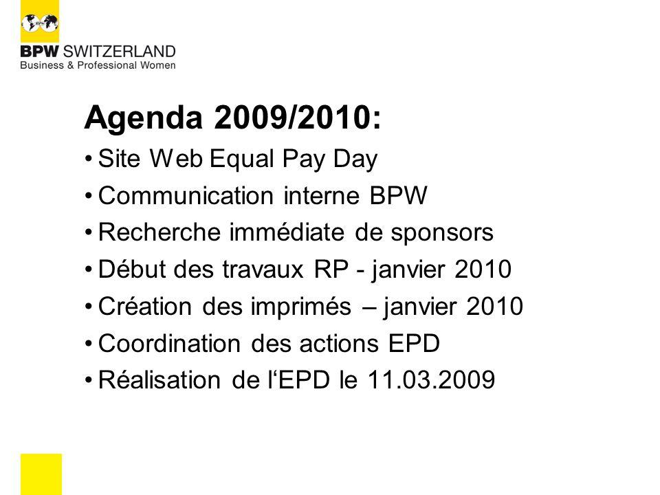 Agenda 2009/2010: Site Web Equal Pay Day Communication interne BPW Recherche immédiate de sponsors Début des travaux RP - janvier 2010 Création des imprimés – janvier 2010 Coordination des actions EPD Réalisation de l'EPD le 11.03.2009