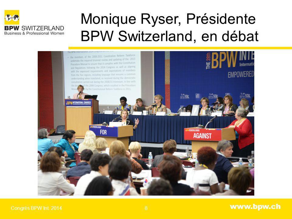 www.bpw.ch Monique Ryser, Présidente BPW Switzerland, en débat Congrès BPW Int. 20148