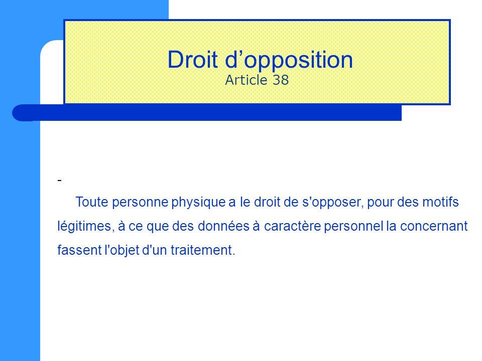 Droit d'opposition Article 38 - Toute personne physique a le droit de s'opposer, pour des motifs légitimes, à ce que des données à caractère personnel