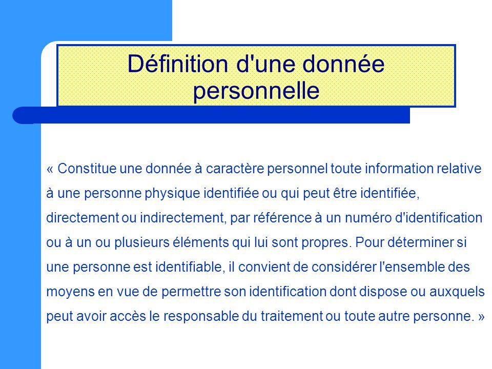 Définition d'une donnée personnelle « Constitue une donnée à caractère personnel toute information relative à une personne physique identifiée ou qui