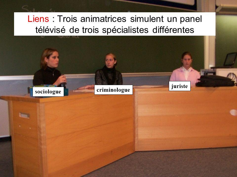 Leclercq, Micro PARMs MFPA, STE ULG, 2002 20 Liens : Trois animatrices simulent un panel télévisé de trois spécialistes différentes sociologue criminologue juriste