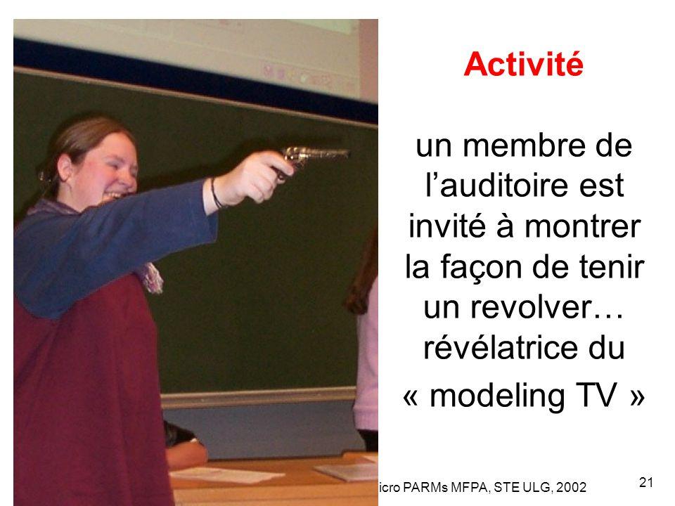 Leclercq, Micro PARMs MFPA, STE ULG, 2002 21 Activité un membre de l'auditoire est invité à montrer la façon de tenir un revolver… révélatrice du « modeling TV »