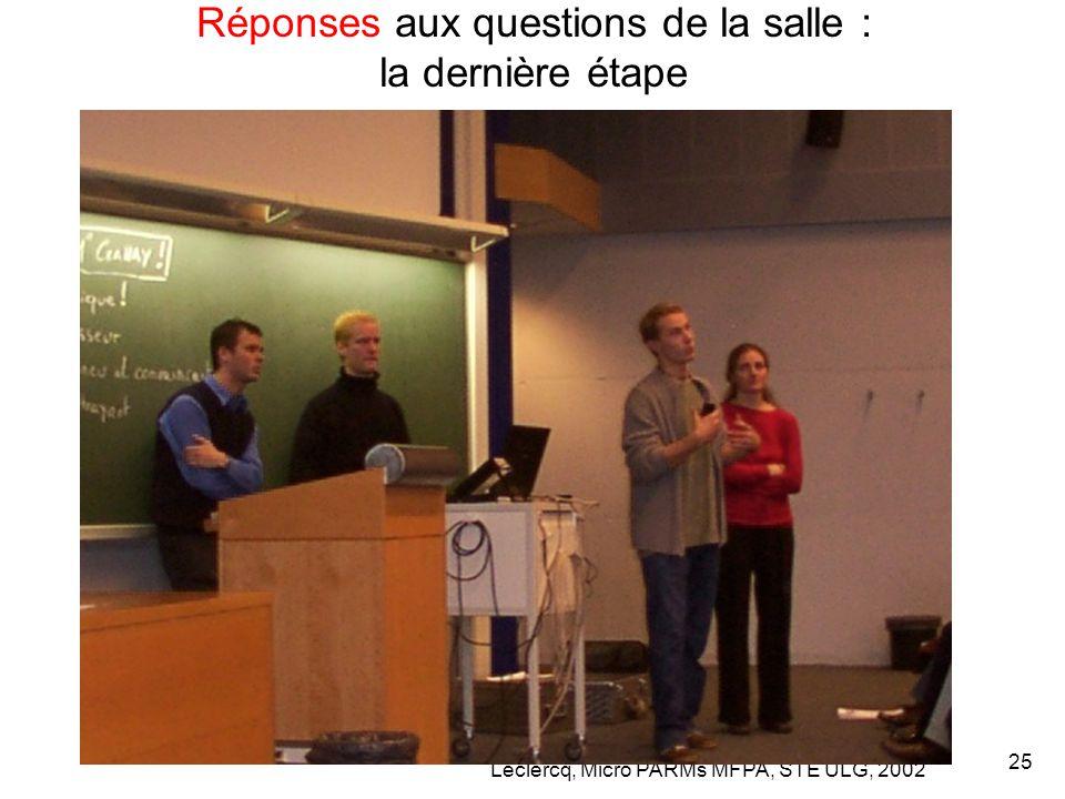 Leclercq, Micro PARMs MFPA, STE ULG, 2002 25 Réponses aux questions de la salle : la dernière étape