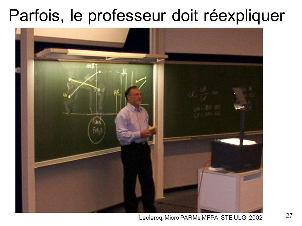 Leclercq, Micro PARMs MFPA, STE ULG, 2002 27 Parfois, le professeur doit réexpliquer