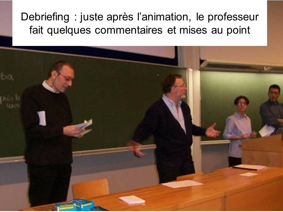 Leclercq, Micro PARMs MFPA, STE ULG, 2002 28 Debriefing : juste après l'animation, le professeur fait quelques commentaires et mises au point
