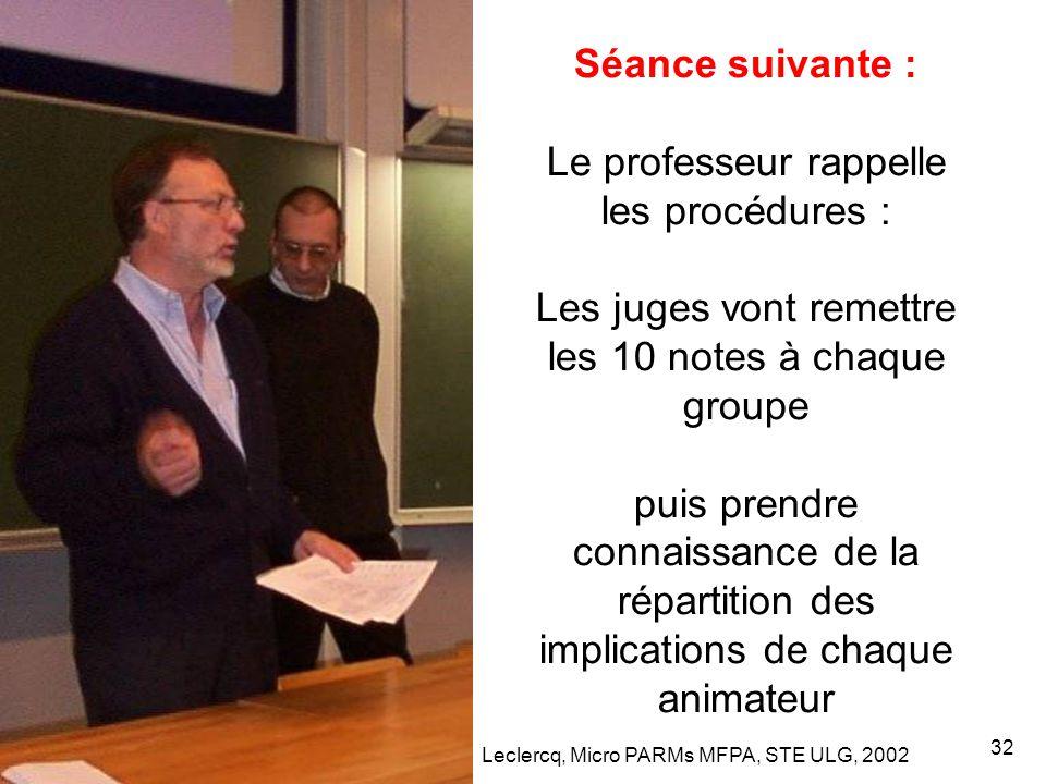 Leclercq, Micro PARMs MFPA, STE ULG, 2002 32 Séance suivante : Le professeur rappelle les procédures : Les juges vont remettre les 10 notes à chaque groupe puis prendre connaissance de la répartition des implications de chaque animateur