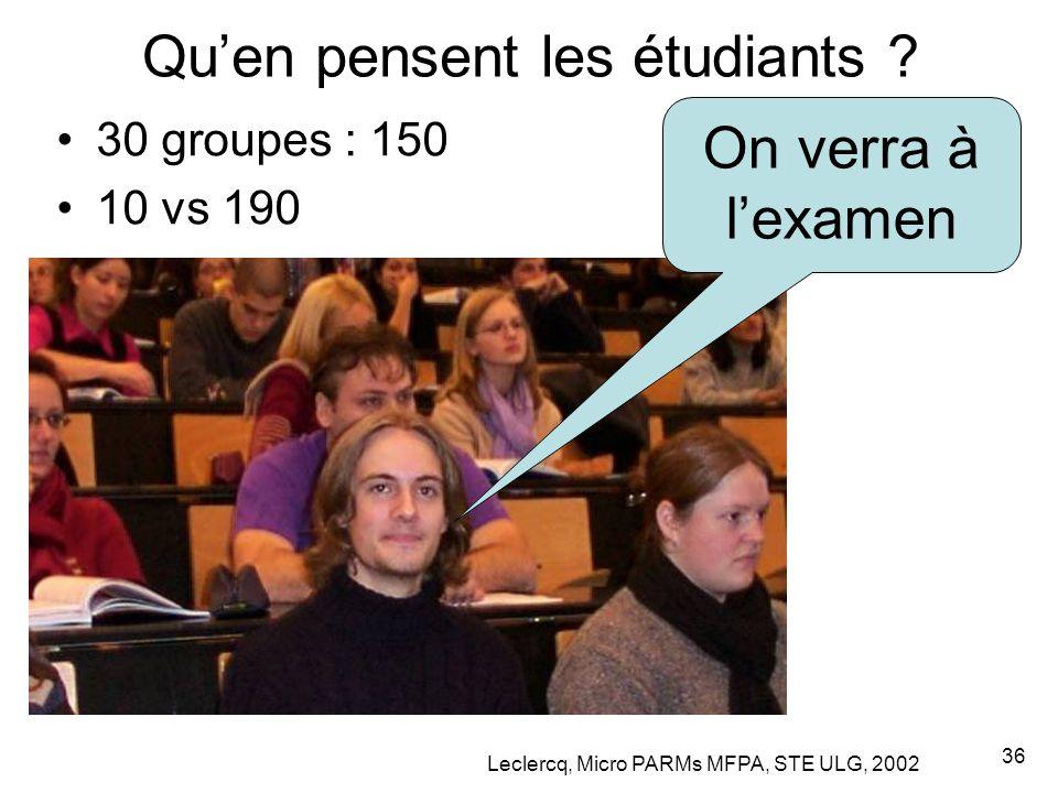 Leclercq, Micro PARMs MFPA, STE ULG, 2002 36 Qu'en pensent les étudiants .