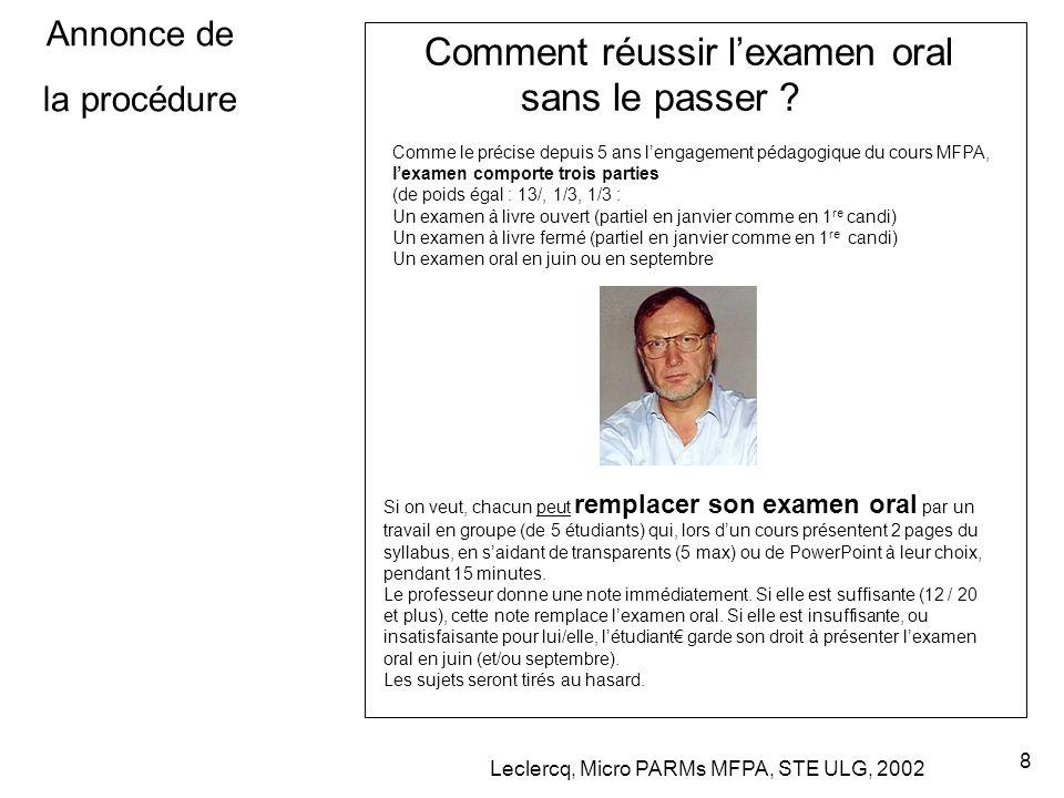 Leclercq, Micro PARMs MFPA, STE ULG, 2002 8 Annonce de la procédure Comment réussir l'examen oral sans le passer .