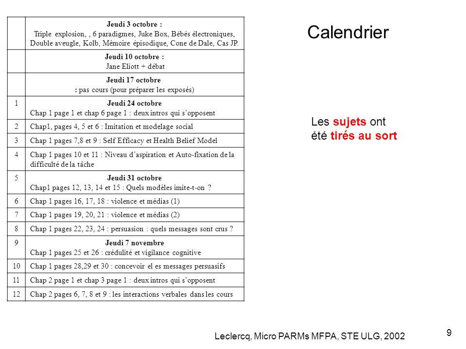 Leclercq, Micro PARMs MFPA, STE ULG, 2002 9 Calendrier Jeudi 3 octobre : Triple explosion,, 6 paradigmes, Juke Box, Bébés électroniques, Double aveugle, Kolb, Mémoire épisodique, Cone de Dale, Cas JP.
