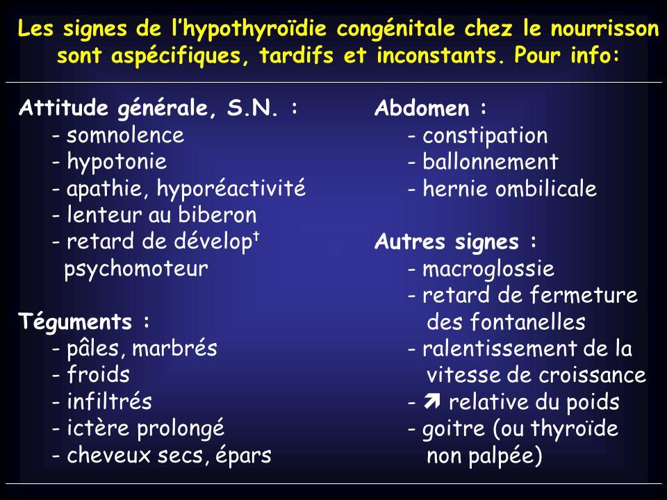 Les signes de l'hypothyroïdie congénitale chez le nourrisson sont aspécifiques, tardifs et inconstants.