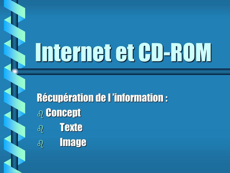 Internet et CD-ROM Récupération de l 'information : b Concept b Texte b Image