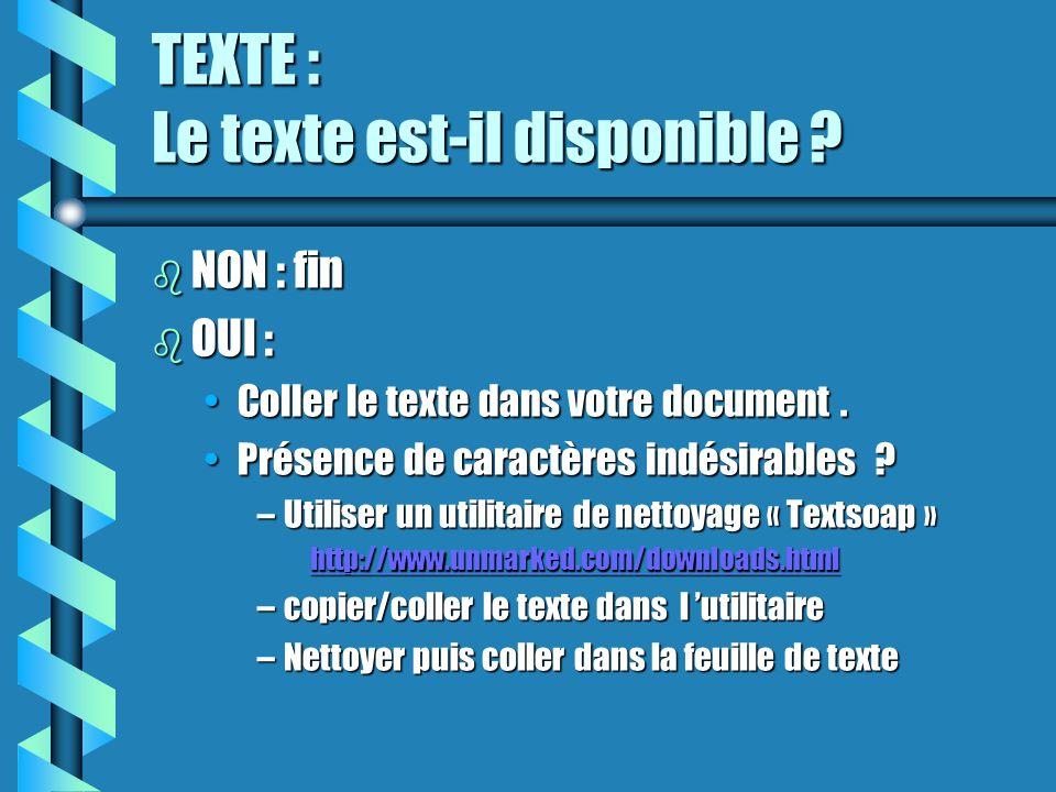 TEXTE : Le texte est-il disponible ? b NON : fin b OUI : Coller le texte dans votre document.Coller le texte dans votre document. Présence de caractèr