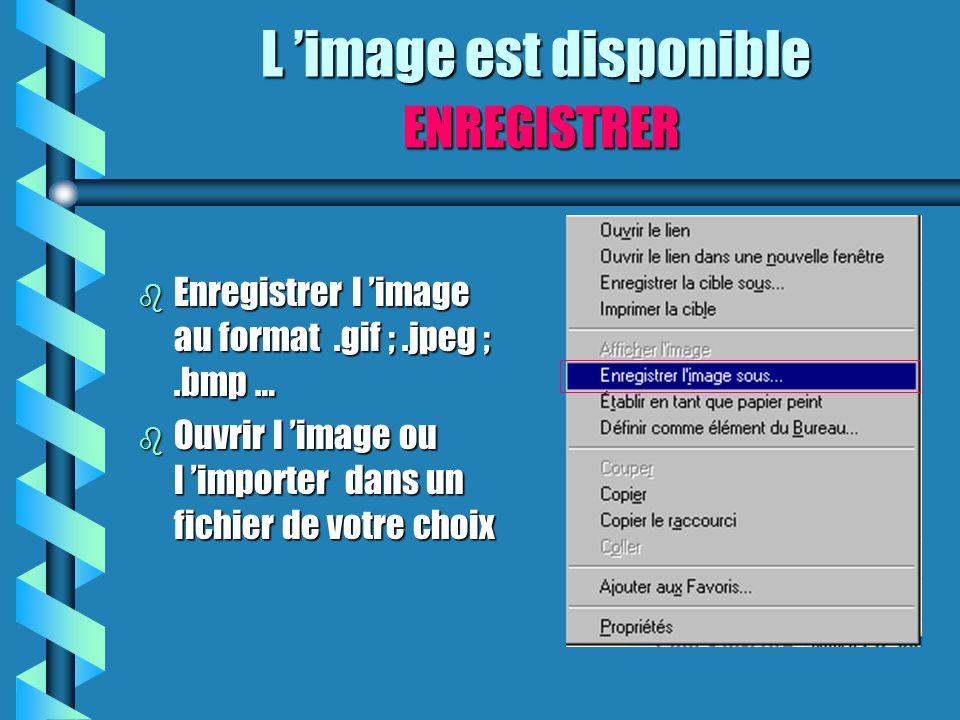 b Enregistrer l 'image au format.gif ;.jpeg ;.bmp … b Ouvrir l 'image ou l 'importer dans un fichier de votre choix L 'image est disponible ENREGISTRE