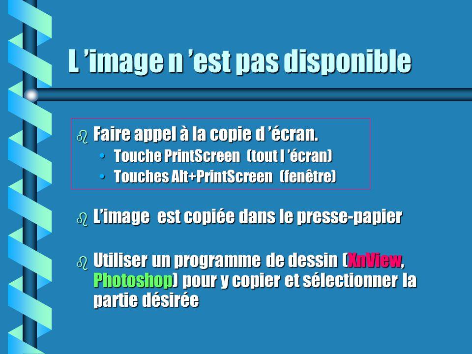 L 'image n 'est pas disponible b Faire appel à la copie d 'écran. Touche PrintScreen (tout l 'écran)Touche PrintScreen (tout l 'écran) Touches Alt+Pri