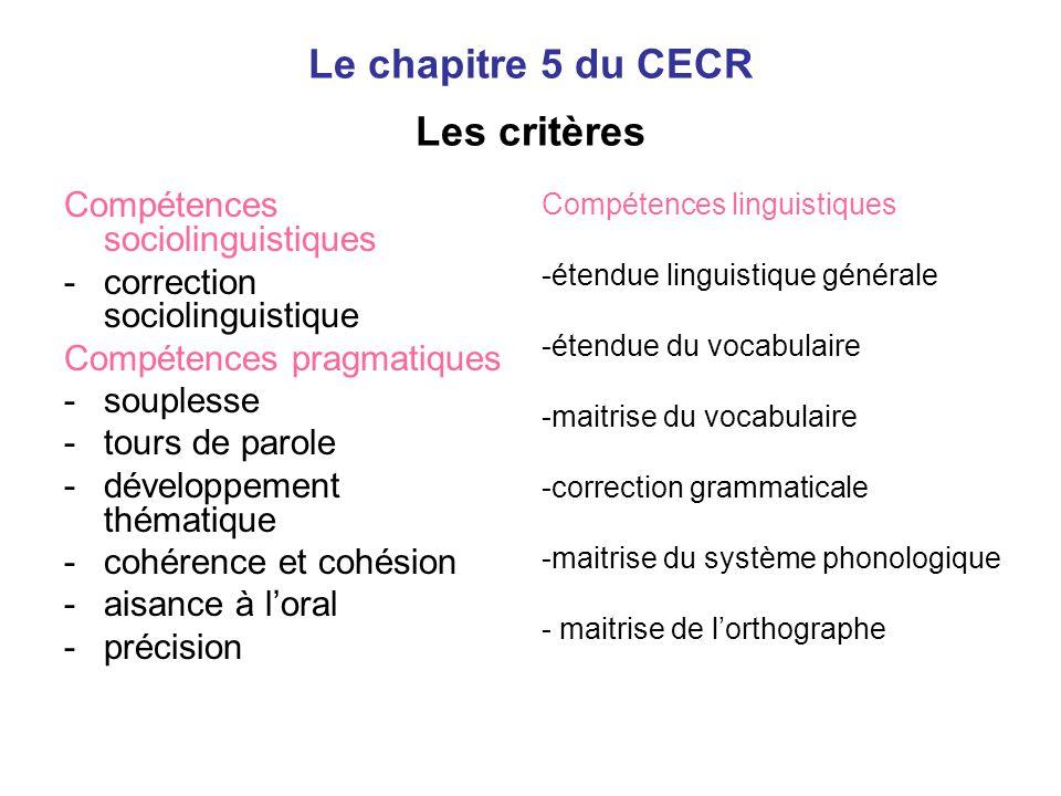 Le chapitre 5 du CECR Les critères Compétences sociolinguistiques -correction sociolinguistique Compétences pragmatiques -souplesse -tours de parole -