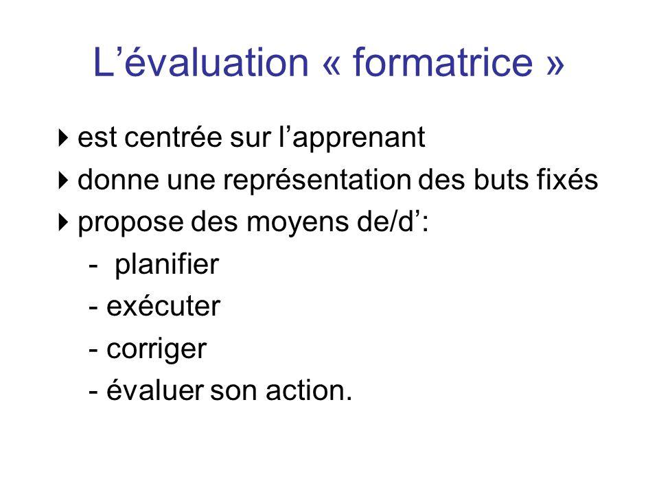 L'évaluation « formatrice »  est centrée sur l'apprenant  donne une représentation des buts fixés  propose des moyens de/d': - planifier - exécuter