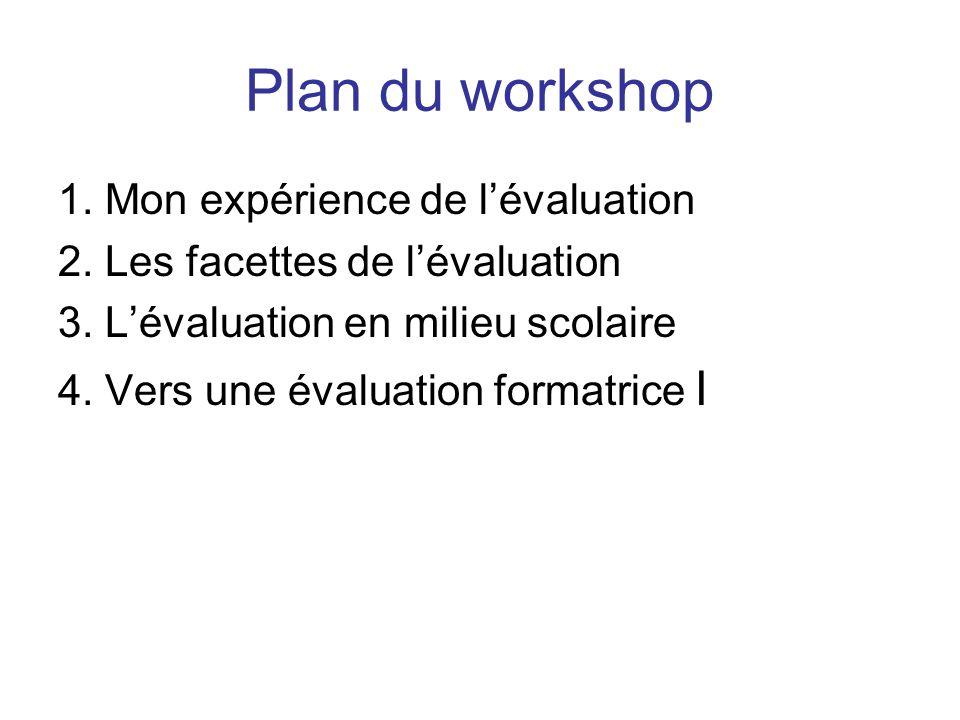 Plan du workshop 1. Mon expérience de l'évaluation 2. Les facettes de l'évaluation 3. L'évaluation en milieu scolaire 4. Vers une évaluation formatric