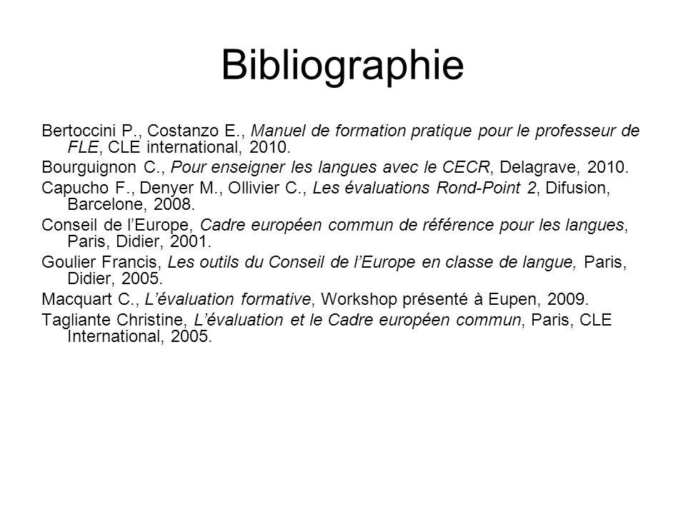 Bibliographie Bertoccini P., Costanzo E., Manuel de formation pratique pour le professeur de FLE, CLE international, 2010. Bourguignon C., Pour enseig