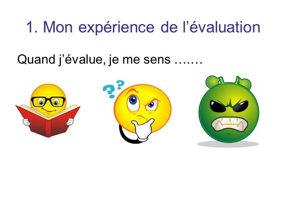 1. Mon expérience de l'évaluation Quand j'évalue, je me sens ….…