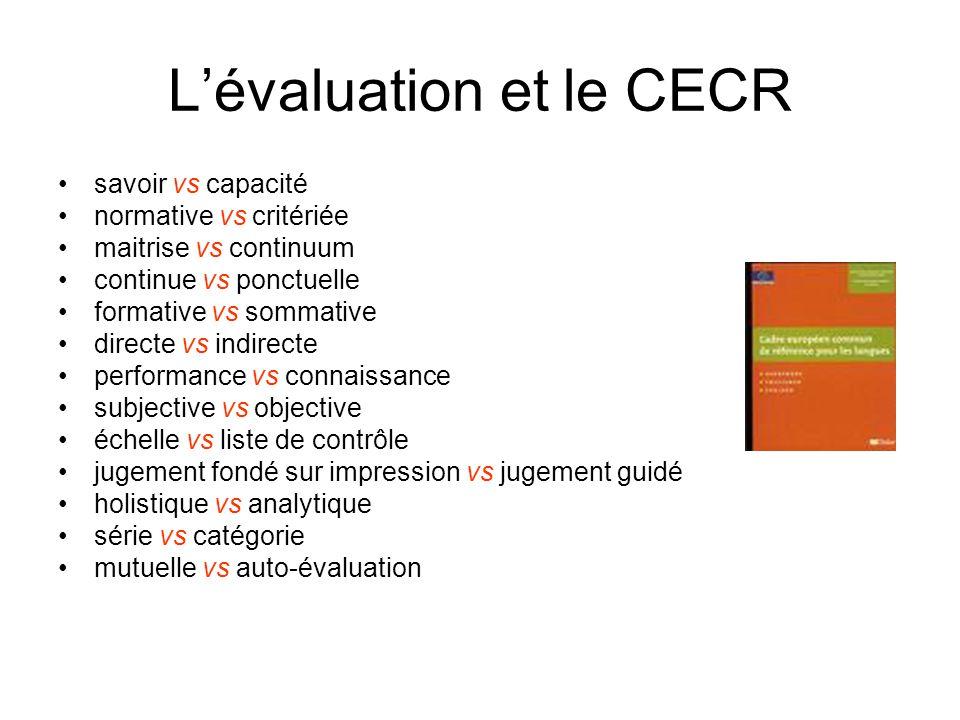 L'évaluation et le CECR savoir vs capacité normative vs critériée maitrise vs continuum continue vs ponctuelle formative vs sommative directe vs indir