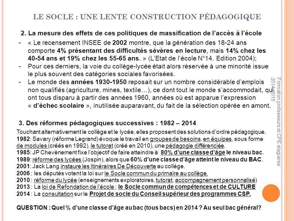 LE SOCLE : UNE LENTE CONSTRUCTION PÉDAGOGIQUE 3.