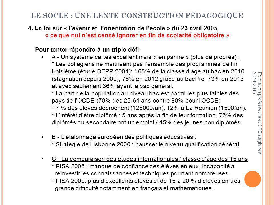 Pour tenter répondre à un triple défi: A - Un système certes excellent mais « en panne » (plus de progrès) : * Les collégiens ne maîtrisent pas l'ensemble des programmes de fin troisième (étude DEPP 2004); * 65% de la classe d'âge au bac en 2010 (stagnation depuis 2000), 76% en 2012 grâce au bacPro, 73% en 2013 et avec seulement 36% ayant le bac général.
